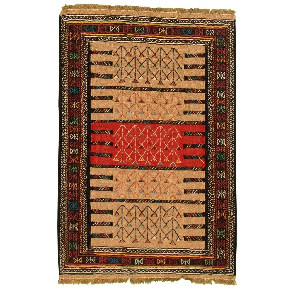 ECARPETGALLERY Flat-weave Ottoman Natura Tan Wool Kilim - 3'7 x 5'5 (Tan - 3'7 x 5'5)