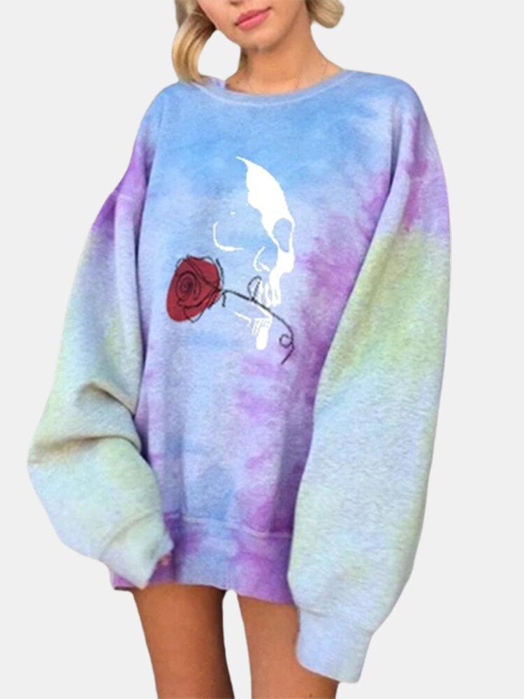Casual Rose Print Loose O-neck Plus Size Sweatshirt