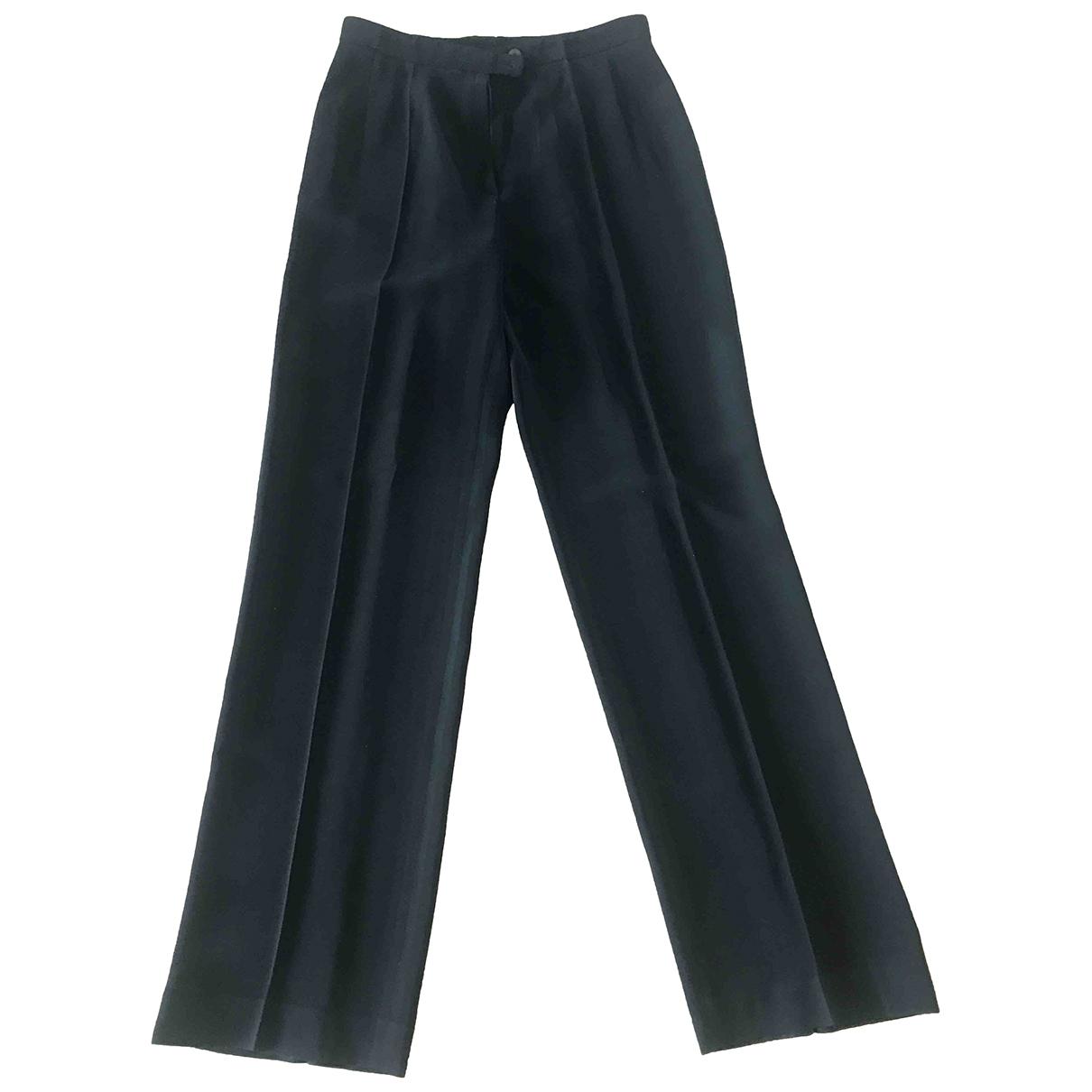 Kenzo \N Black Wool Trousers for Women 42 IT