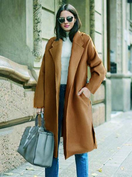 Milanoo La prendas de vestir para las mujeres cuello de cobertura Escudo de manga larga abrigo de invierno