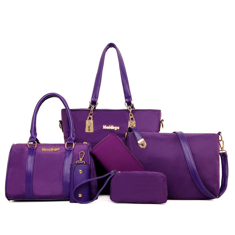 6 PCS Women Casual Nylon Handbag Shoulder Bag Clutch Bag