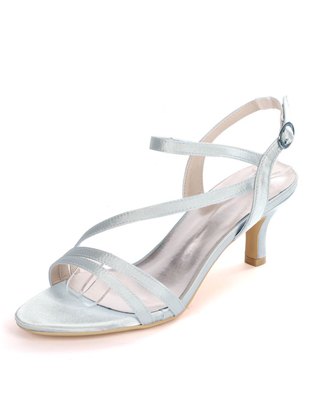 Milanoo Wedding Guest Shoes Satin Silver Open Toe Buckle Bridal Shoes Kitten Heel Mother Shoes