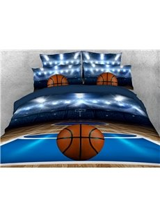 Basketball Court 3D Duvet Cover Sets 4-Piece Sports Style Bedding Sets