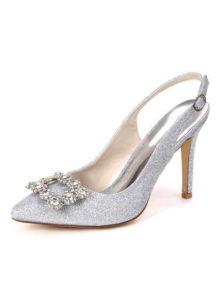 Milanoo Women\'s High Heel Shoes Pointed Toe Rhinestones Party Evening Shoes