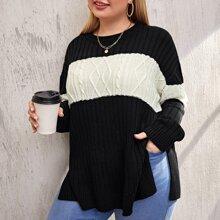 Plus Color Block Drop Shoulder Split Hem Sweater