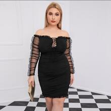 Plus Off Shoulder Lace Up Front Gathered Mesh Sleeve Ruched Dress