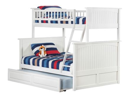 Nantucket Collection AB59232 Twin Over Full Size Bunk Bed with Twin Size Raised Panel Trundle  Casters  Steel Bolts  Ladder Included and Solid Post