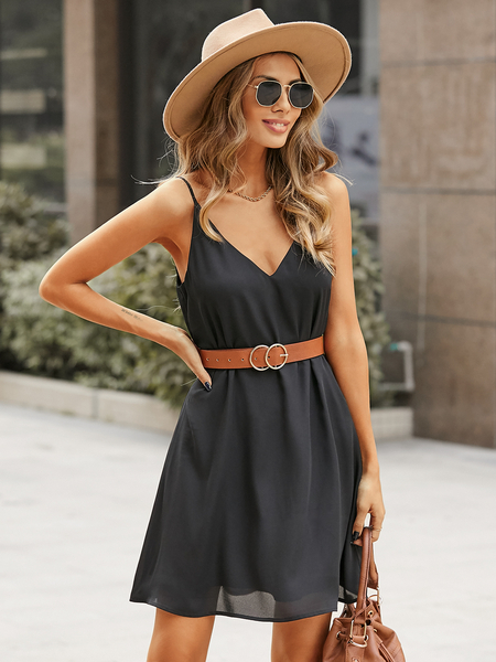 Yoins Spaghetti Strap V-neck Sleeveless Chiffon Dress