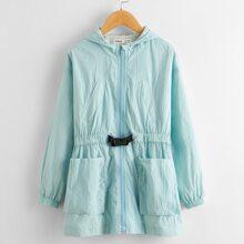 Mantel mit Schnalle, Guertel, Taschen vorn und Kapuze
