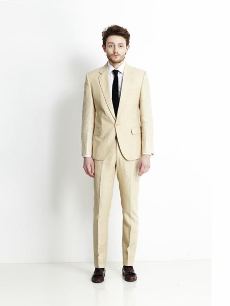 Mens Single Breasted Notch Lapel Beige Linen Suit