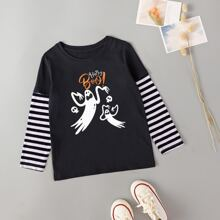 Toddler Girls Halloween Print Striped Sleeve Tee