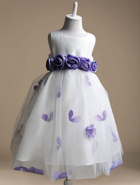 Milanoo Vestido formal para niñas de poliester con flores de estilo dulce