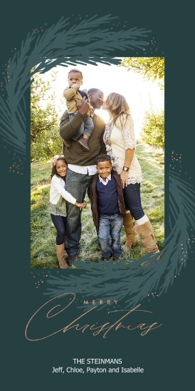 Christmas Photo Cards Flat Matte Photo Paper Cards with Envelopes, 4x8, Card & Stationery -Greenery Sway