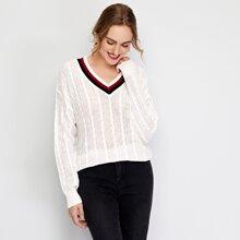Strick Pullover mit Streifen am Kragen