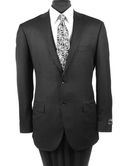 Mens Solid Black Single Breasted Wool Regular Fit Suit Flat Front Pant