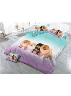 Fluffy Dogs Printing 4-Piece 3D Bedding Sets/Duvet Covers
