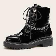 Botas con cordon con diseño de cadena