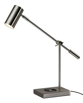 Collette Collection 4217-22 Charge LED Desk Lamp with USB Port on Base  Touch Switch on Shade and Qi Inductive Pad in Brushed