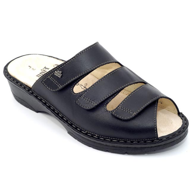 Finn Comfort Tilburg Black Leather Soft Footbed 4 Uk