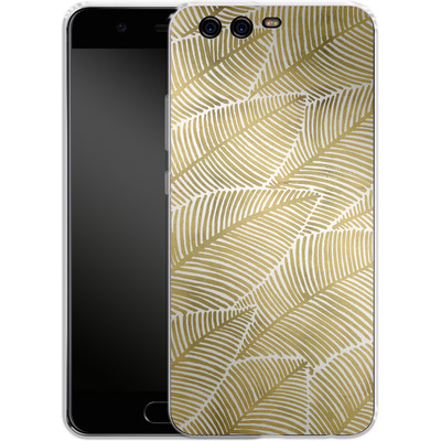 Huawei P10 Silikon Handyhuelle - Tropical Leaves Gold von Cat Coquillette