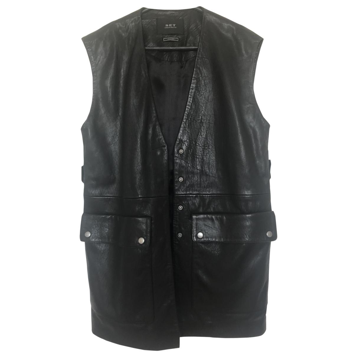 Set \N Black Leather jacket for Women 40 FR