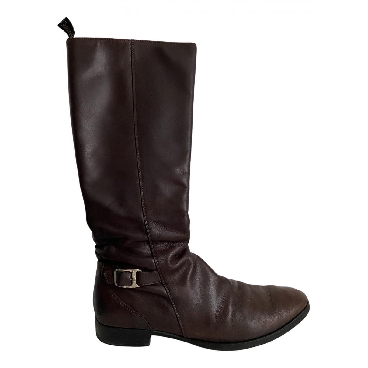 Alberto Guardiani N Brown Leather Boots for Women 39 EU
