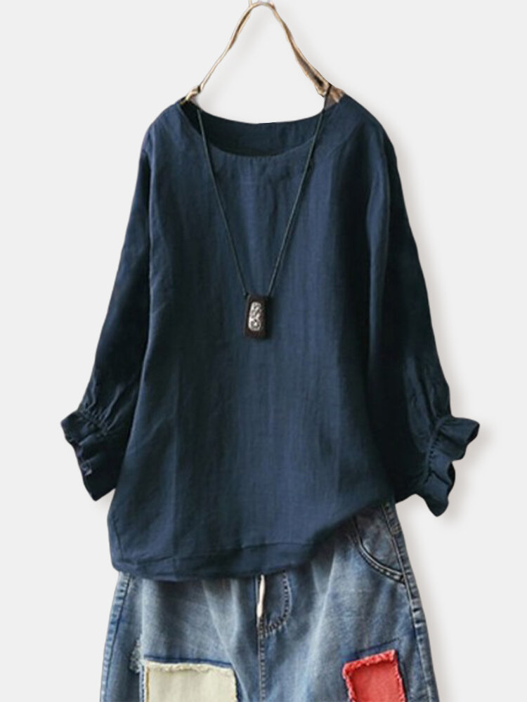 Solid Color O-Neck Long Ruffled Sleeve T-shirt For Women