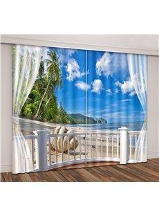 3D Blue Sky Tropical Seaside with Beach Seashell Printed Curtain