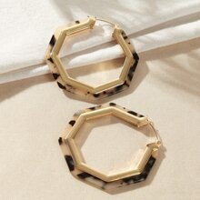1 par pendientes de aro geometrico metalico