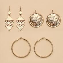 3 Paare Texturierte Metall Ohrringe