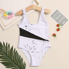 Einteiliger Badeanzug mit Marmor Muster und Farbblock