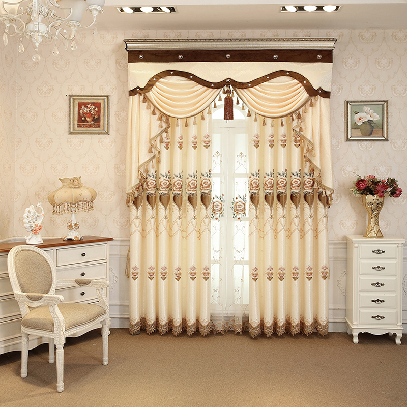 Floral Embroidery Beige Silk Feeling Simple Style Drapes Custom 2 Panels Blackout Curtains