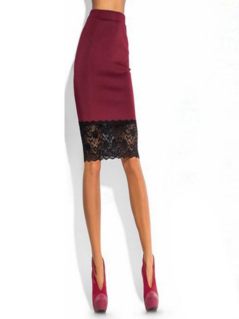 Ericdress Patchwork Lace Color Block Column Skirts
