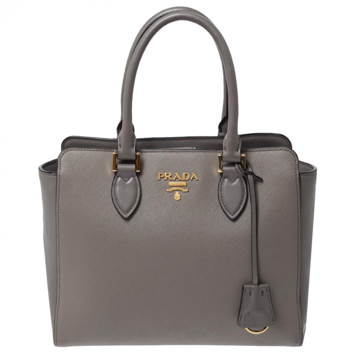 Prada saffiano  Grey Leather handbag for Women N