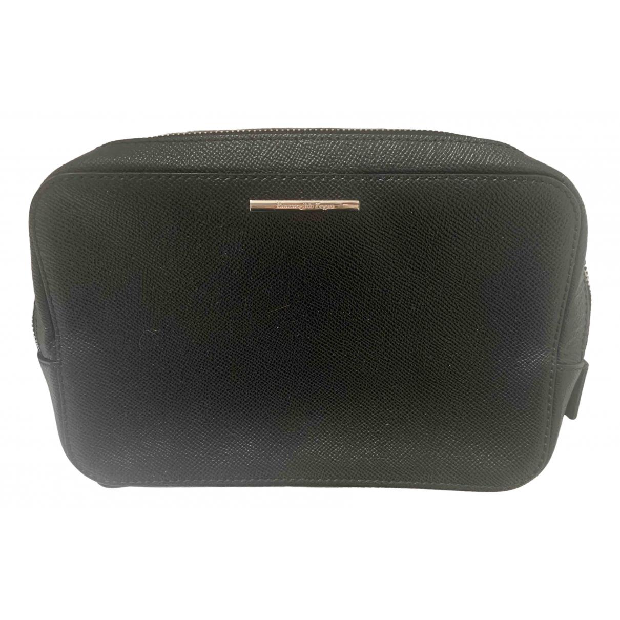 Ermenegildo Zegna \N Black Leather Small bag, wallet & cases for Men \N