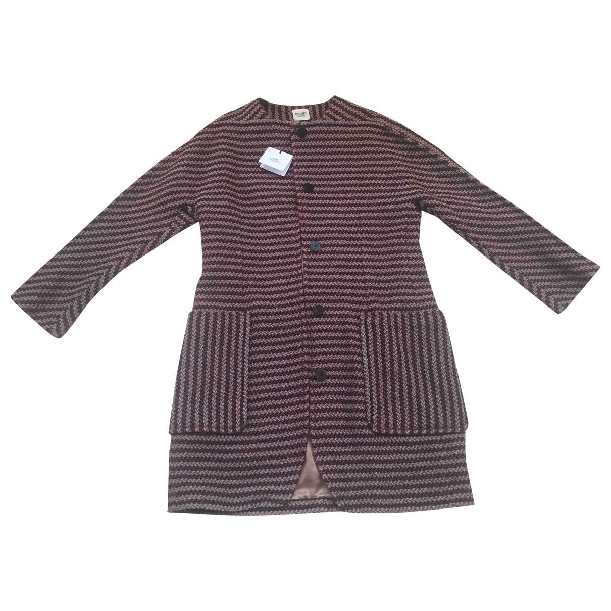 Hermes - Pull   pour femme en laine - bordeaux