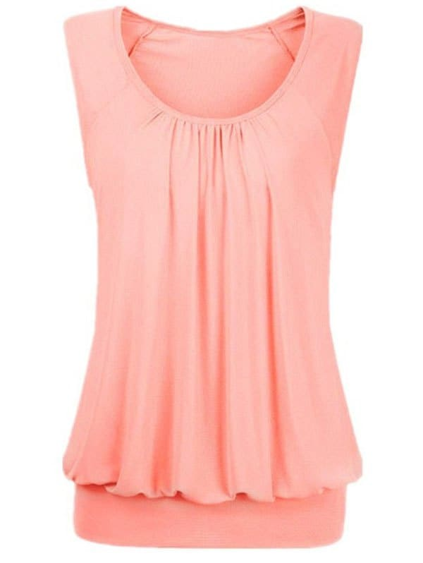 Solid Ruched Blouson Plus Size Tank Top