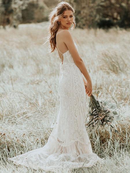 Milanoo Vestido de novia Boho 2020 Lace A Line Halter sin mangas hasta el suelo Vestido de novia con tren