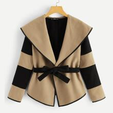 Plus Waterfall Collar Two Tone Self Belted Coat