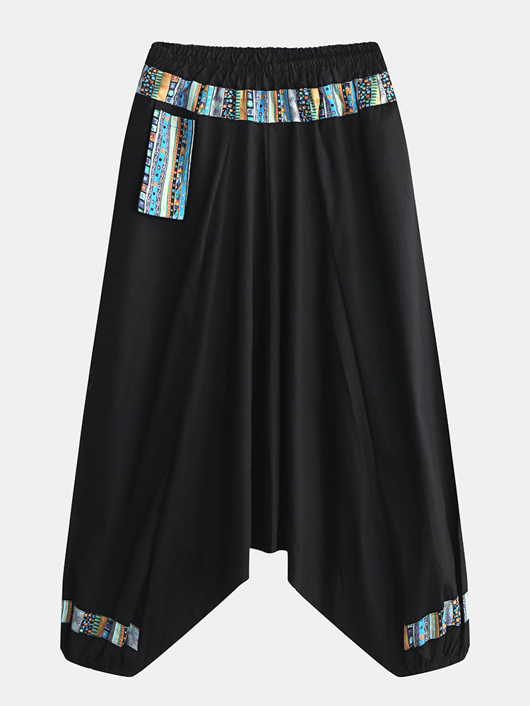 Mens Chinese Style Vintage Ethnic Printing Loose Elastic Waist Harem Pants