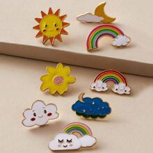 8pcs Sun & Rainbow Shaped Brosche