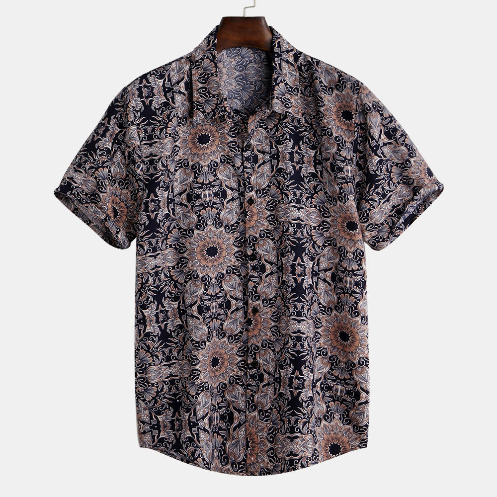 Mens Vintage Fashion Short Sleeve Floral Printed Shirts