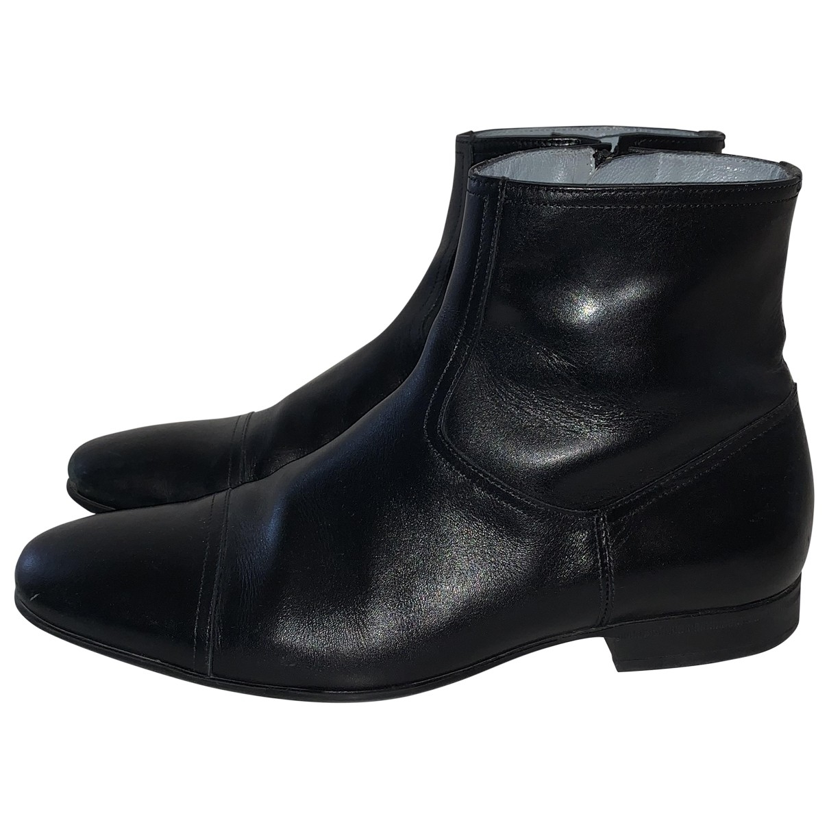 Non Signé / Unsigned \N Black Leather Boots for Men 42 EU