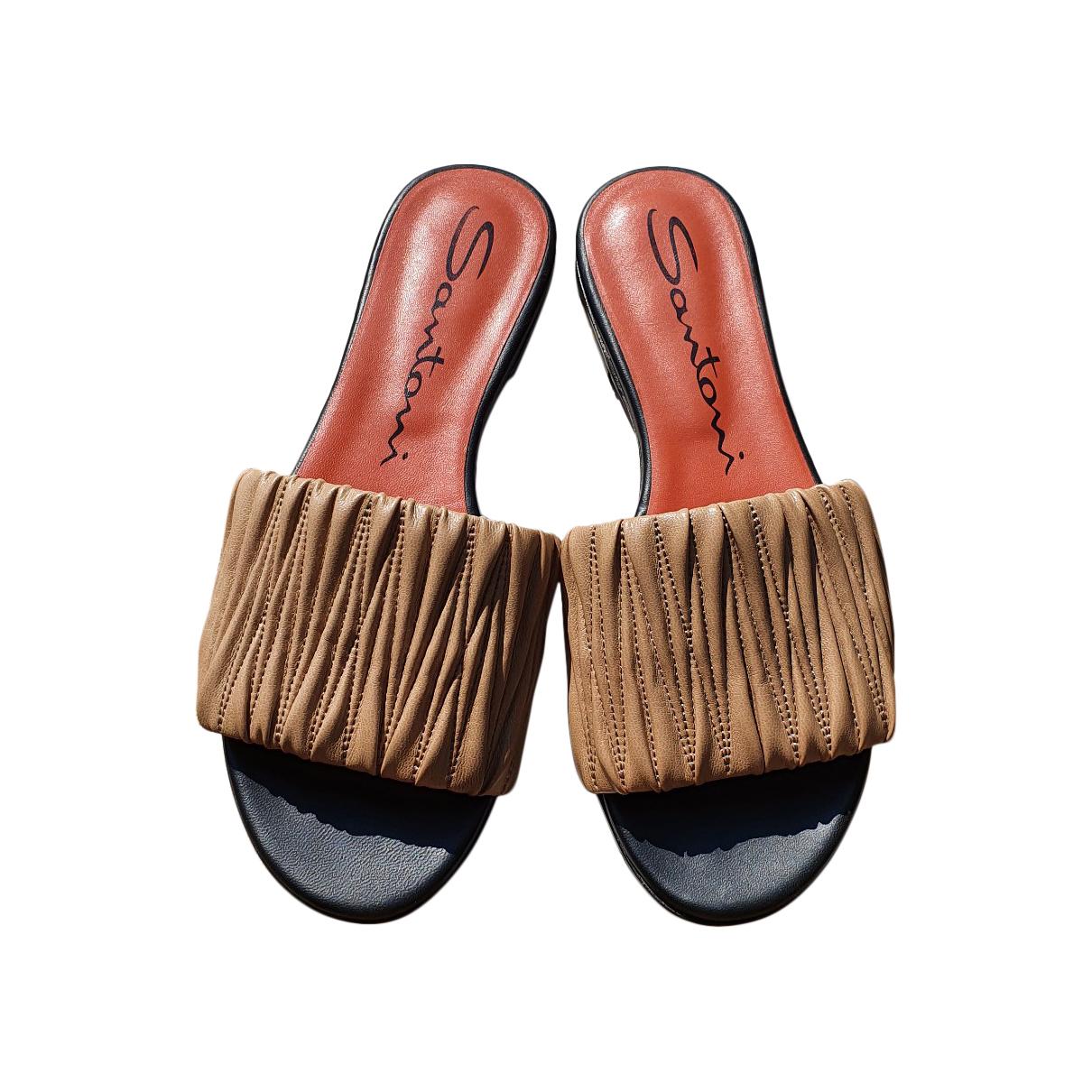 Santoni \N Sandalen in  Beige Leder