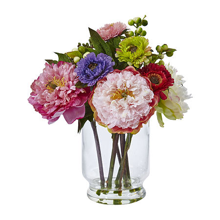 Nearly Natural Peony And Mum In Glass Vase Artificial Flowers, One Size , Pink