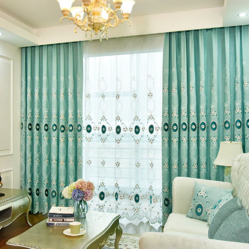 Elegant European Embroidery Floral Linen Shading Curtains for Living Room Custom 2 Panels Drapes No Pilling No Fading No off-lining