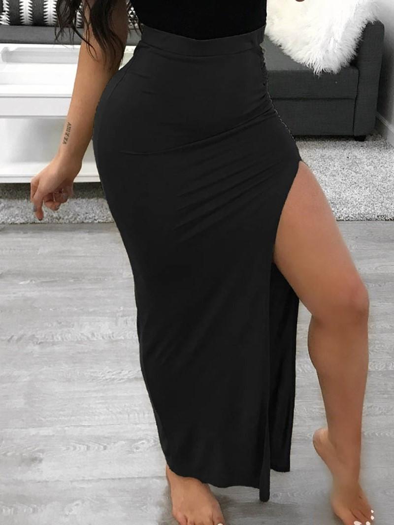 Ericdress Plain Split Bodycon High Waist Casual Skirt