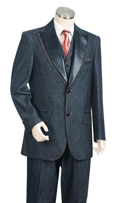 3 Piece 2 Button Blue Denim Fabric Vested Zoot Suit Mens