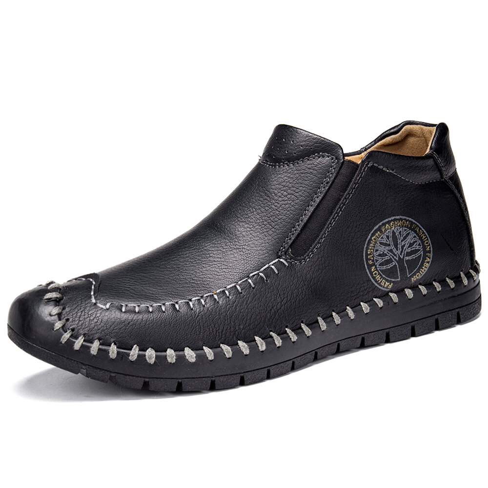 Menico Men Hand Stitching Leather Slip Resistant Soft Casual Slip On Boots