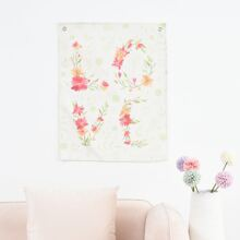 Paño colgante de pared con estampado floral